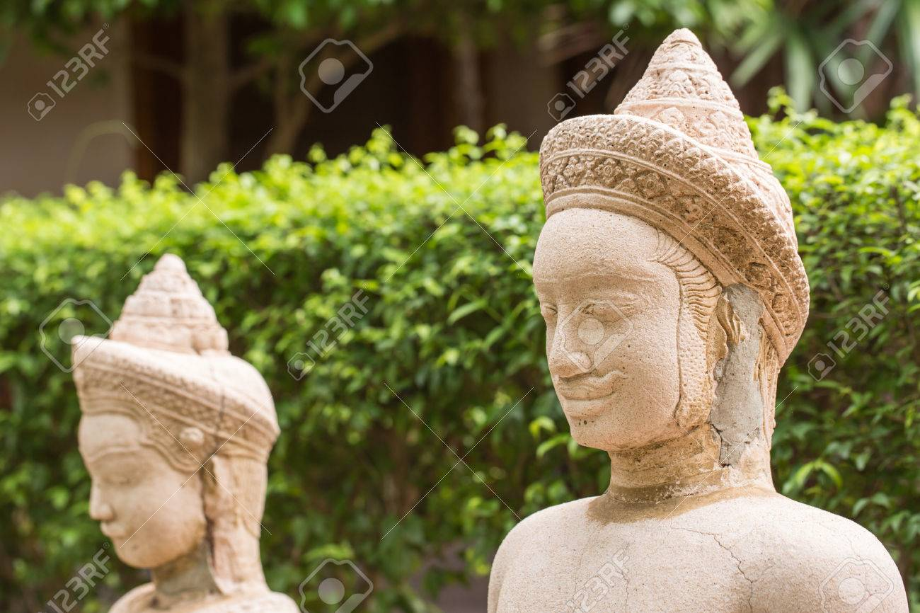 Amphitheater Of Human And Deities Stone Statues In Buddha Place For Relaxation And Meditation. Buddhism. Travel To Asia, Tourism.